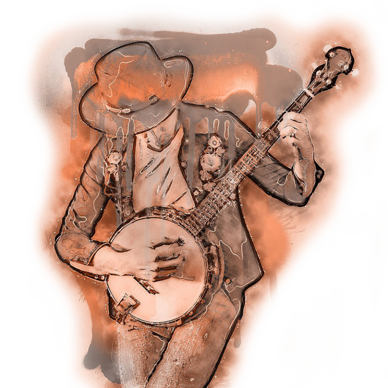 Graphic of musician with banjo